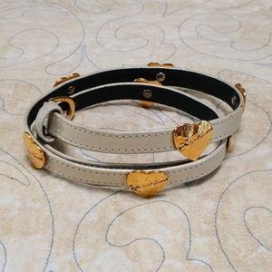 VTG Yves Saint Laurent Hammered Metal Heart Belt S